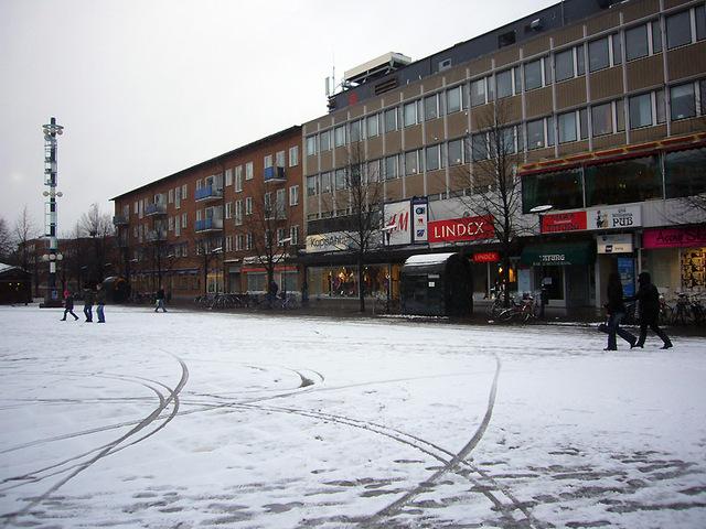初雪の中央広場